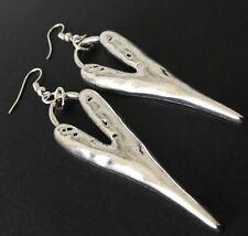 Silver Hammered Heart earrings Tibetan silver  Boho Gypsy Festival Drop Dangle