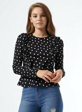 Miss Selfridge Womens Black and White Spotted Long Sleeve Frill Top Shirt Blouse