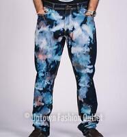 New Men's NormCore Tie Dye Painter Wash Pacific Blue Slim Straight Denim Jeans