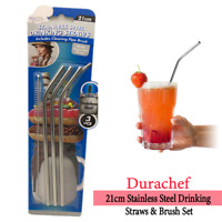 Reusable Straw DuraChef Stainless Steel Drinking Straws & Brush Set Sustainable