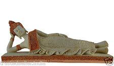 "5.5""x 14.5"" BIG RECLINING SLEEPING BUDDHA STATUE HANDMADE POLY MARBLE HOME DECOR"