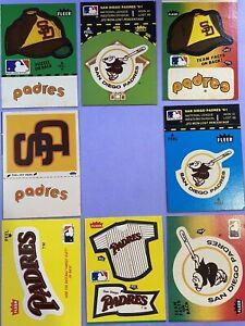 Vintage 1980's SAN DIEGO PADRES Fleer Baseball Sticker Lot of 8 Different