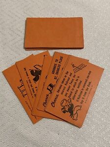 1961 Monopoly Board Game Replacement Parts Pieces 16 Chance Cards