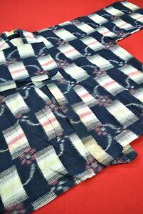 Vintage Japanese Kimono Cotton Antique Boro NORAGI Indigo Blue KASURI/BT56/265