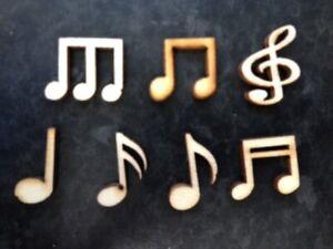 10 Natural Wooden Musical Notes Card Making Scrapbook Craft Embellishments