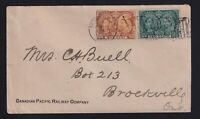 Canada 1897 1c+2c Jubilee CP Railway Montreal Flag Cancel Cover to Brockville