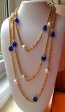 "RARE VINTAGE CHANEL 97P X-LONG 76"" PEARL BLUE MURANO GLASS GOLD LINK NECKLACE"