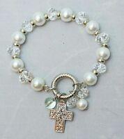 Silver Cross Charm Bracelet White Bead Stretch Religious Spiritual One Size Gift