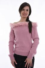 Powder Hand Knitted ANgora 68% Mohair  SWEATER  Fuzzy SToft  Top  Blouse by SSEu