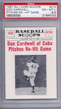 1961 Nu Card Scoops # 410 Don Cardwell Pitches No Hit Game PSA 8.5