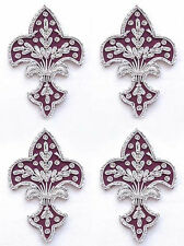 4 Hand-Embroidered Appliques. Fleur De Lis. Burgundy with Silver Bullion