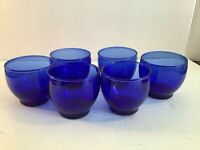 6 Vintage Cobalt Blue Glass Cordial Liqueur Glasses or Tea Light Candle Holders