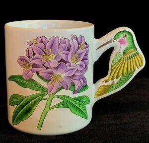 Hydrangea Mug with a Hummingbird Handle Unbranded Japan