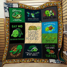 Turtle Quilt Blanket, Turtle Lovers Quilt Blanket, Turtle Pattern Quilt Blanket