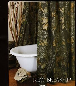 "Mossy Oak New Break Up Fabric Shower Curtain 72"" x 72"" Camo Rustic Cabin Country"