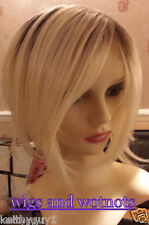 Ladies womens blonde with darker roots fashion full wig short, classic cap