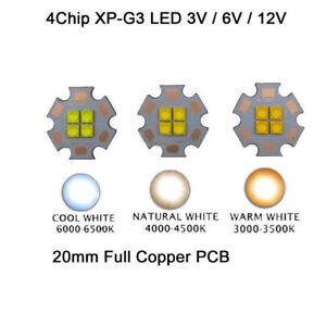 3V / 6V / 12V Cree XPG3 4LEDs 24W 3000K to 6000K White Light LED Emitter Chip