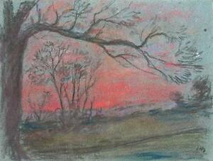 IMPRESSIONIST TREES IN SUNSET LANDSCAPE Pastel Drawing MARCUS ADAMS c1950
