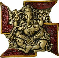 Swastik Ganesha Wall Hanging ( Multicolour, 7 x 7 Inches)  - Free Ship Worldwide