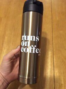 Victoria Secret PINK Gold RUNS ON COFFEE Travel Sport Water Drink BOTTLE Thermos