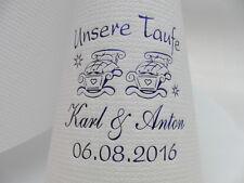 50 mit Namen bedruckte Servietten in rosa/hellblau TAUFE/Zwillinge/Junge/Mädchen