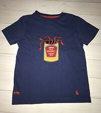 Joules Boutique Navy Blue Can Of Worms Appliqué Tee T Shirt Toddler Boys 4 4T