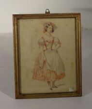 Antique French Fine Hand Drawing Lady Colored Pencil Inscription Painting Art