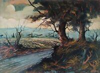 Quadro Moderno Dipinto Olio su tela, Paesaggio boschivo al tramonto con fiume