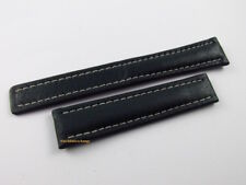 New Breitling 18mm Green Leather Strap for Deployant Buckle OEM