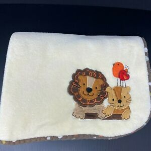 Lambs & Ivy Yellow Baby Blanket Lion Tiger Birds Brown Polka Dot Trim FAST SHIP