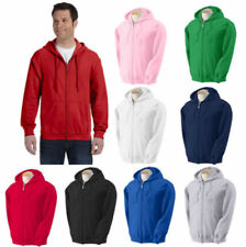 Men's Solid Full Zip Up Hoodie Classic Hooded  Zipper Sweatshirts Color + Size
