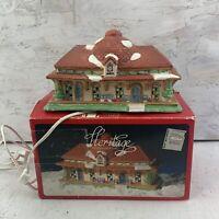 Christmas Village Lighted Train Station Santa's Best Heritage Porcelain 1992
