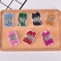 100pcs Sewing Needles Glass Head Bead Sewing Machine Needles Holder Head Pins