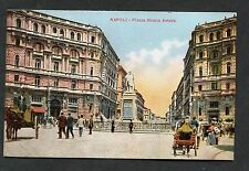 C1910 View of People by the Piazza Nicola Amore, Naples, Italy.