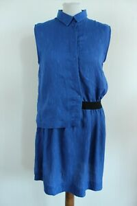 cop.copine BNWT Blue Sleeveless Shirt Neck Shift Dress Size FR 40 EU L