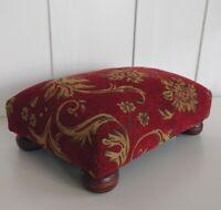 "Vintage Upholstered Wooden Foot Rest Step Stool 6"" x 10.5"" x 15"" Burgundy B"