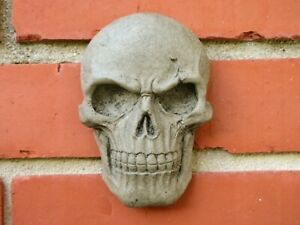 Skull Plaque, Concrete Garden Decor for Indoors and Outdoors