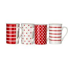 Set Of 4 Red White Spots/Stripes Dotted Porcelain Tea Coffee Drinks Mugs New Mug