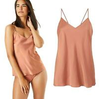 Ex M&S Womens Satin Strappy Camisole Sleeveless Cami Vest Top