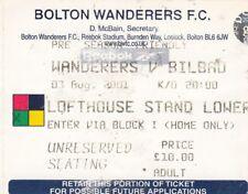 Ticket - Bolton Wanderers v Bilbao 03.08.01 Pre-Season Friendly