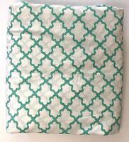 Pottery Barn Teen FULL/QUEEN DUVET Cover Breezy Lattice Aqua Pool White Green