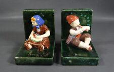 Antique Czech Folk Art Costume Girl&Shepherd Boy w/Pipe Ceramic Pottery Bookends