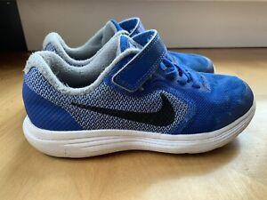 Nike Boys Revolution 3 Running Shoes Blue 819414-402 Hook & Loop Strap Sz 1Y