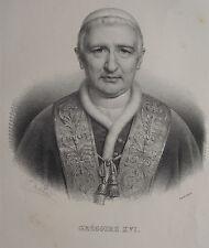 GRÉGOIRE XVI , PORTRAIT, LITHOGRAPHIE 1840 DELPECH
