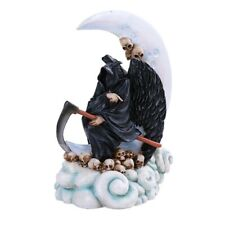 """7.75"""" Santa Muerte Statue on the Clouds Holy Death Grim Reaper with Moon"""