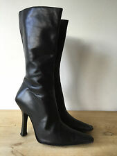 SACHA LADIES BLACK LEATHER MID CALF BOOTS UK6