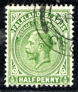 FALKLAND ISLANDS KGV Halfpenny ½d Stamp Used{samwells-covers}2RBLUE120