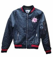 NEW LADIES BASEBALL COLLAR ZIP PU LEATHER PINK ROSE FITTED BIKER JACKET BLACK