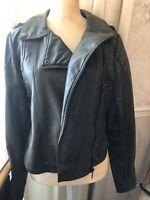 NYC Dollhouse Outerwear Medium Green Short Leather Moto Jacket