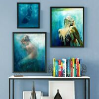 Ocean Painting Mermaid Series Bare Canvas Print Picture Wall Art Home Deco Mural